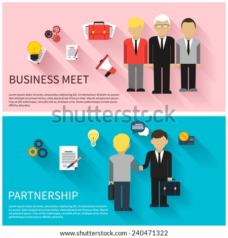 Concept for business meeting, teamwork, partnership with handshake and discussion at the meeting of businessmen in suits - stock vector