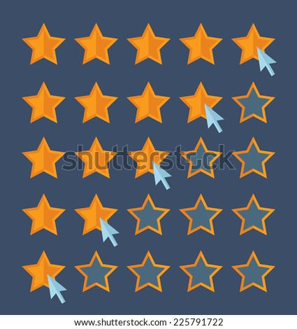 Concept for customer review. Cursor arrow choosing rating stars. Flat design vector for web
