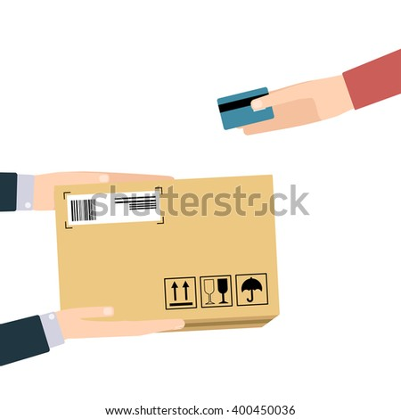Concept for delivery service, online shopping, receiving package. Vector illustration. Hands of courier with parcel and customers hands with credit bank card. - stock vector