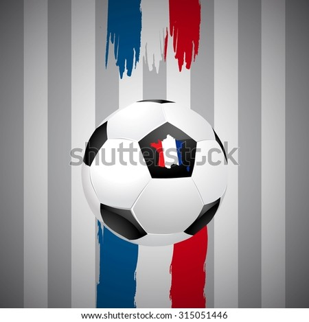 Concept for Euro 2016 France football championship. A soccer ball and a France map with a France flag - stock vector