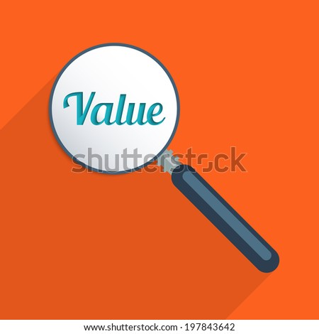 Concept for find your values and world of finance. Flat design illustration. - stock vector