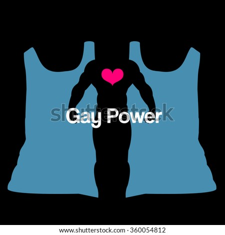 Concept for gay rights with gay power text. Optical minimal vector illustration with t shirts shaping a male silhouette with heart - stock vector