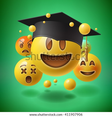 Concept for graduation, green background with group of smiley emoticons, emoji, vector illustration. - stock vector
