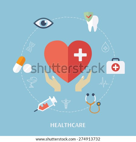 Concept for medicine healthcare. Medical icons. Flat design vector for web - stock vector