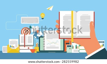 Concept for web banners and promotions. Flat design concept for e-learning - stock vector