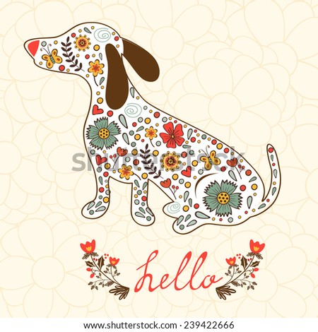 Concept hello card with floral badger dog. Vector illustration - stock vector