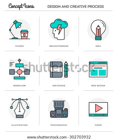 Concept icons,design and creative process, flat thin line design, vector illustration - stock vector