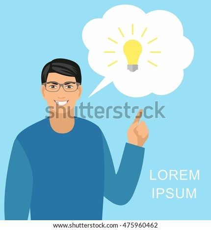 Concept idea. Vector illustration of a creative young  businessman pointing at light bulb as a symbol of having an idea