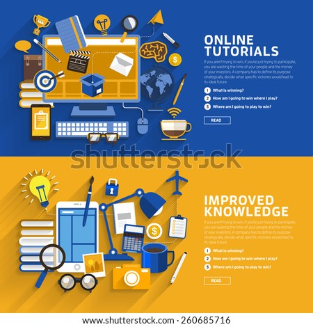 Concept illustrate style flat design about online tutorial and improve knowledge.Vector illustrate. - stock vector