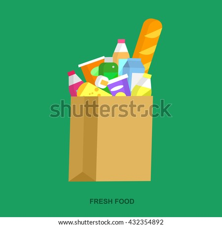 Concept illustration for Shop, supermarket. Vector package with meal. Healthy eating and eco food - stock vector
