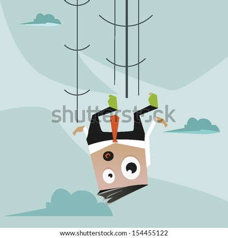 Concept illustration of a Man falling - stock vector