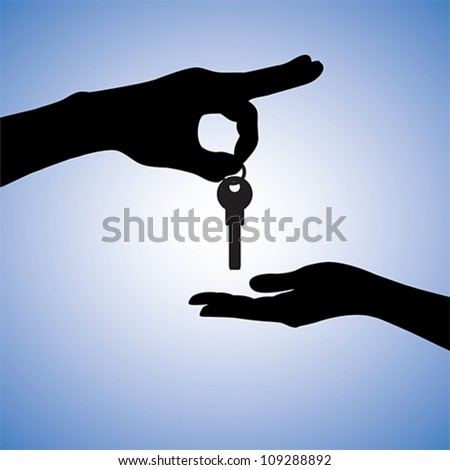 Concept illustration of buying and selling house in real estate market. The hand holding the key chain is the seller or the owner and the arm receiving the house key is the buyer or purchaser. - stock vector