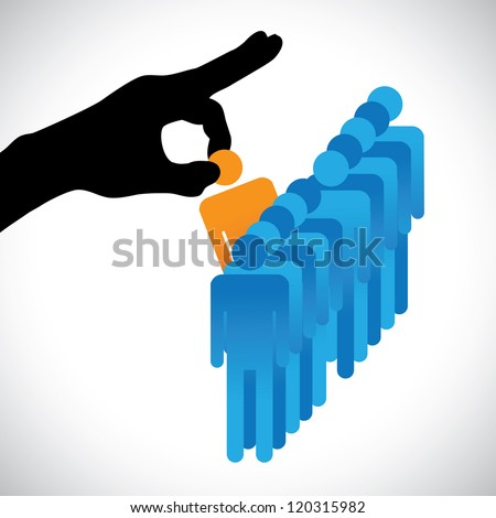 Concept illustration of choosing the best employee. The graphic shows company HR represented by hand silhouette making a choice of a person with right skills for the job among many other candidates - stock vector
