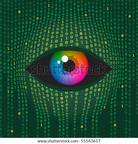 Concept illustration of human vision and digital technologies. - stock vector