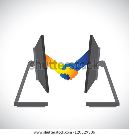 Concept illustration of internet deals, partnerships, business, etc., shown by handshake between two people from inside two computer(PC) monitors. - stock vector