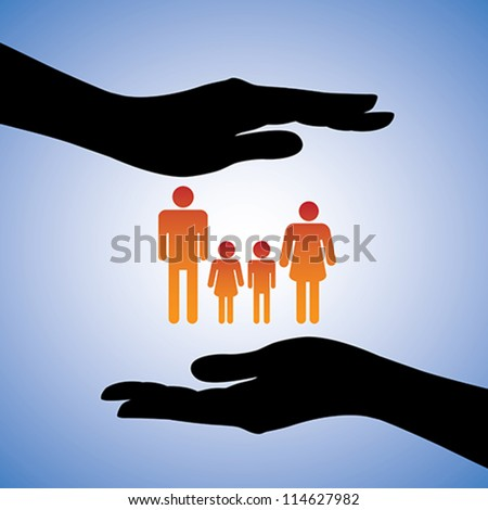 Concept illustration of protecting family of four(parents and two children). The graphic includes silhouettes of female's hand along with figures of dad, mom, son and daughter - stock vector
