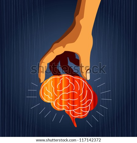 Concept illustration of protecting human knowledge. - stock vector