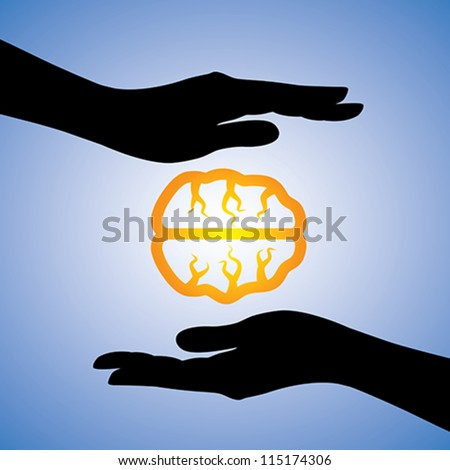 Concept illustration of protecting human knowledge. The graphic contains girls hands silhouette covering human brain icon. The concept can be used to show information security, protecting knowledge - stock vector