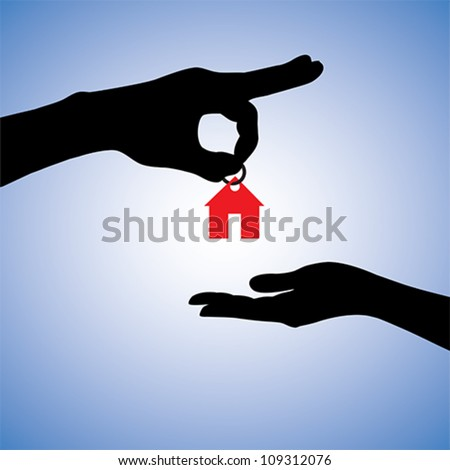 Concept illustration of selling or gifting house in real estate market. The hand holding a red house key chain is the seller or the owner and the arm receiving the house key is the buyer or purchaser. - stock vector