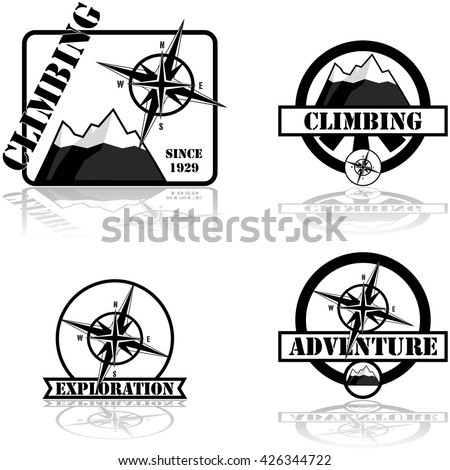 Concept illustration showing a collection of climbing and adventure themed badges - stock vector