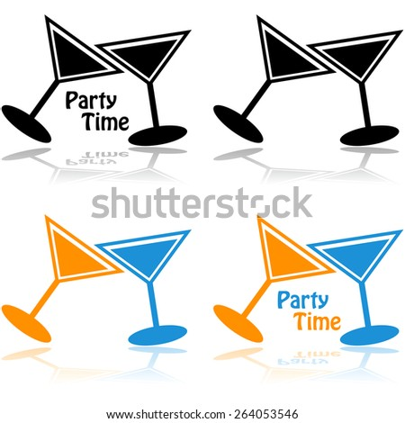 Concept illustration showing a couple of cocktail drinks combined with the words 'party time' - stock vector