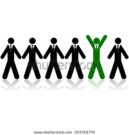 Concept illustration showing a line of businessman, with one of them colored green celebrating - stock vector