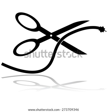 Concept illustration showing a pair of scissors cutting a cable TV cord - stock vector