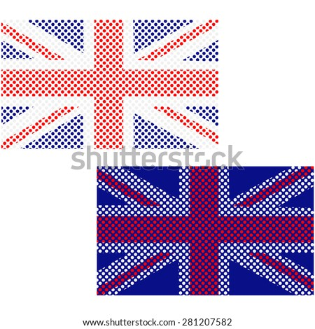 Concept illustration showing the United Kingdom flag made up of small circles - stock vector