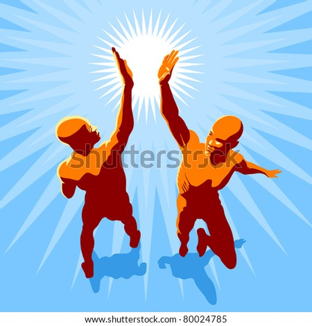 concept illustration - two people in high spirit giving hi 5 - stock vector