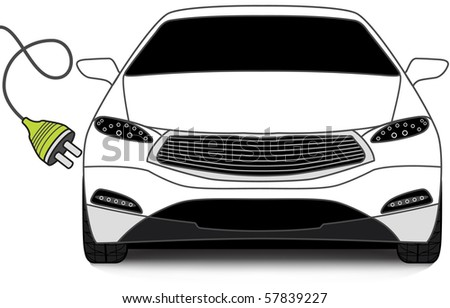 Concept image of the Ecological Car. Contemporary Car with Green Plug. - stock vector