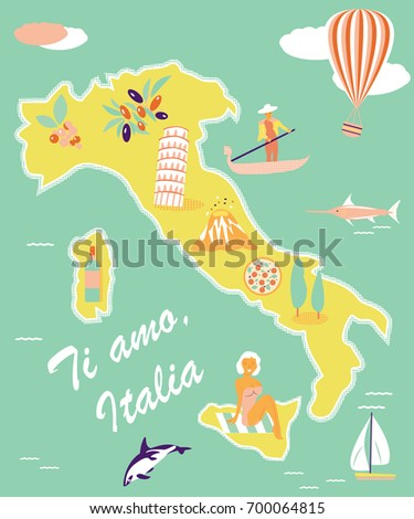Concept Image Tourist Map Italy Famous Stock Vector 700064815