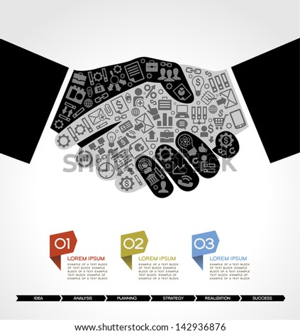 concept in modern business agreement. Businessman handshake with business small icons. Business info-graphics - stock vector