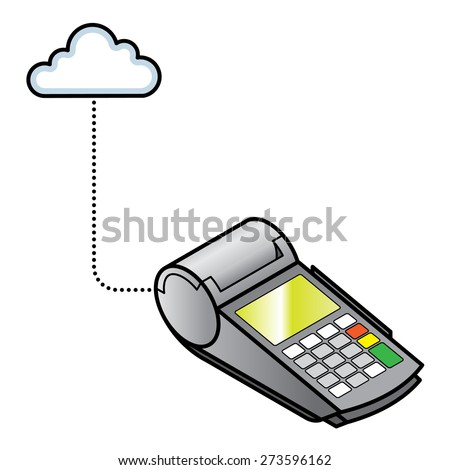 Concept: Internet of Things. A connected POS point of sale payment terminal.  - stock vector