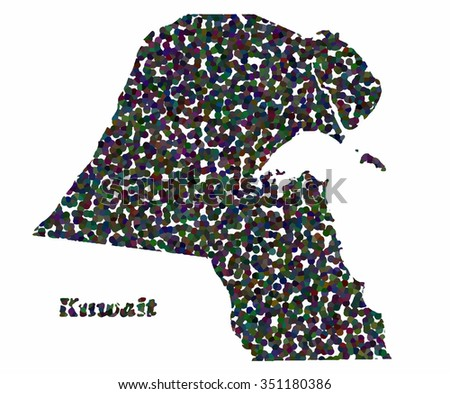 Concept map of Kuwait, vector design Illustration. - stock vector