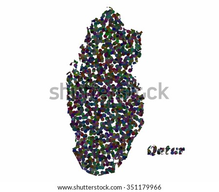 Concept map of Qatar, vector design Illustration. - stock vector