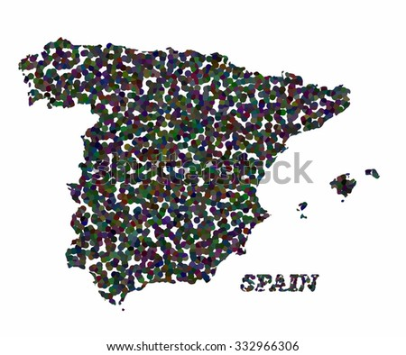 Concept map of Spain, vector design Illustration.