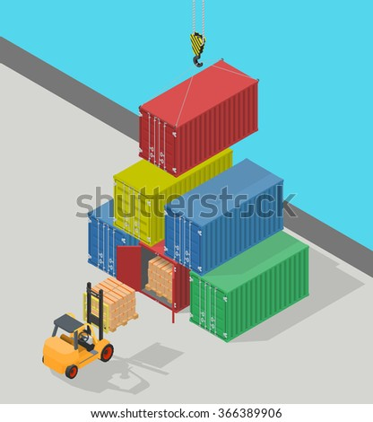 Concept marine cargo port. Unloading of sea cargo containers by a forklift. Closed containers and one outdoor. Isometric vector illustration. - stock vector