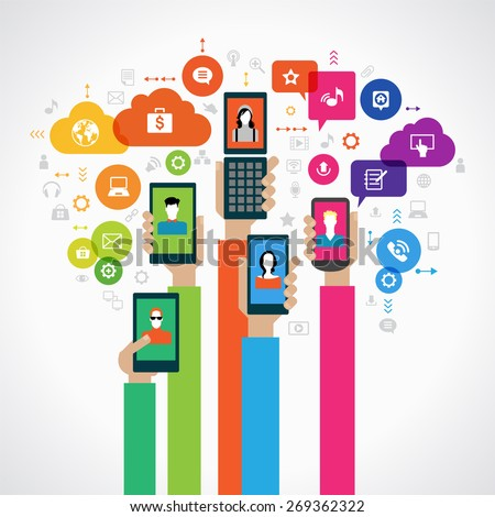 Concept mobile marketing. The hands of people with mobile phones surrounded by icons. File is saved in AI10 EPS version. This illustration contains a transparency - stock vector