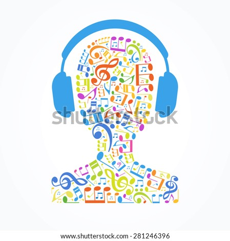 Concept music. Music note in the shape of a human head with headphones - stock vector
