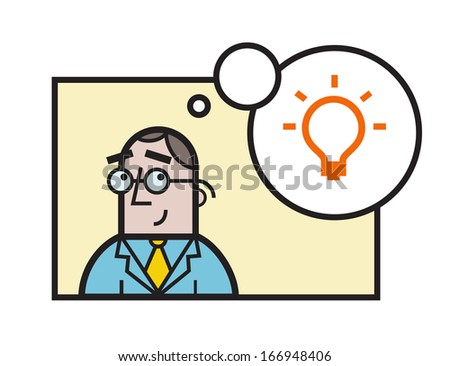 Concept of a businessman with great idea  - stock vector