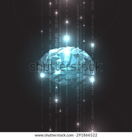 Concept of  Active Human Brain on a Dark Background.Vector Illustration - stock vector