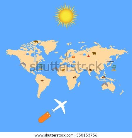 Concept of Airplane, Air Craft Shipping Around the Folder Paper World for Transportation Concept - stock vector