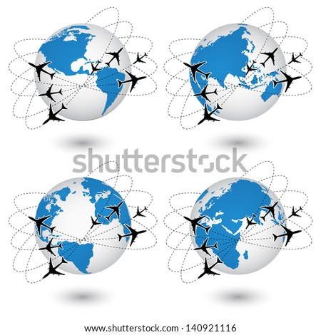 Concept of Airplane, Air Craft Shipping Around the World for Transportation Concept, Vector Illustration EPS 10. - stock vector