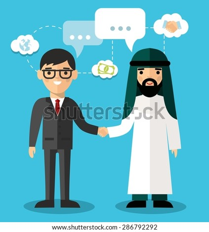 Concept of arabic and european business with handshake. Set of arabic and european businessman with dialog speech bubbles  - stock vector