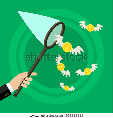 Concept of attracting investments. Hand holding butterfly net and catching money. Flat design, vector illustration - stock vector
