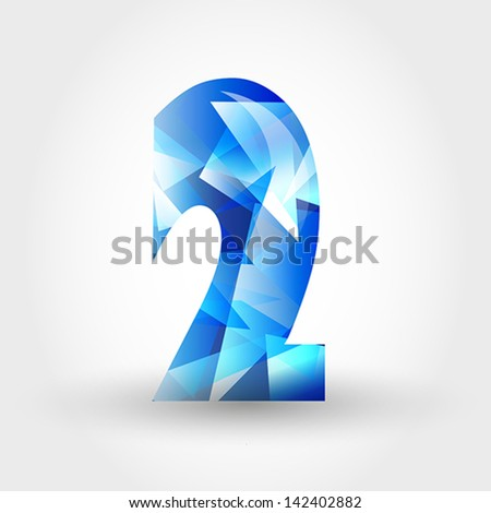 concept of blue crystalline alphabet, number and symbol - stock vector