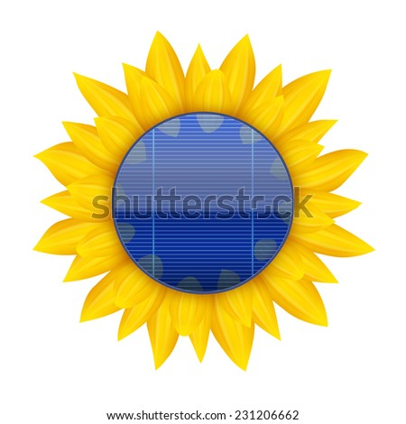 Concept of Blue electric solar panel inside sunflower. Vector illustration - stock vector