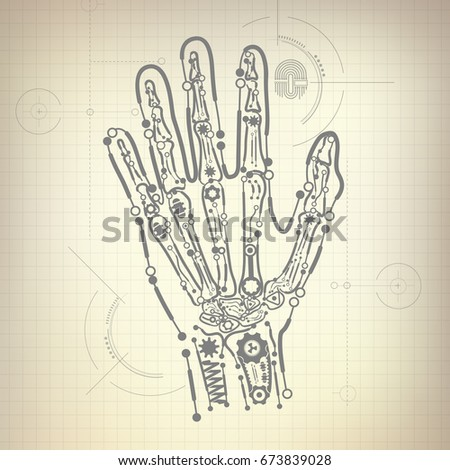 Concept blueprint ai invention robot hand vectores en stock concept of blueprint of ai invention robot hand and bone diagram malvernweather Images