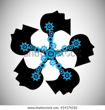 Concept of brainstorming, this vector also represents knowledge sharing and transfer, teamwork, people communication, unity, community, people influencing skills - stock vector