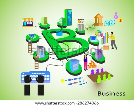 Concept of Business. Different systems like banking, employee, retail, support, sales and management teams and systems connected through a business process, represented in an alphabet letter B fashion - stock vector
